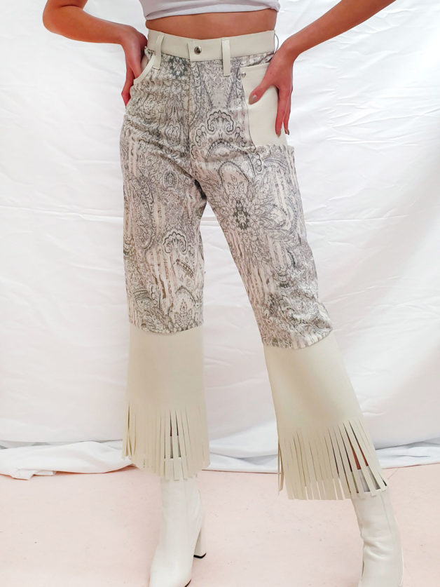 Pantalon beige imprimé